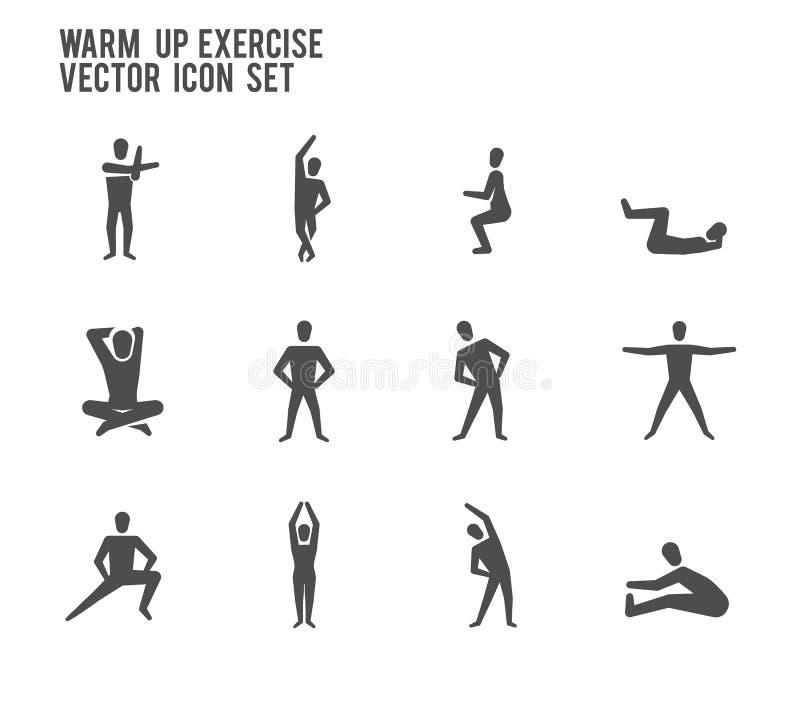 Grże up ćwiczenia joga sprawności fizycznej ikony Wektorowego set ilustracji