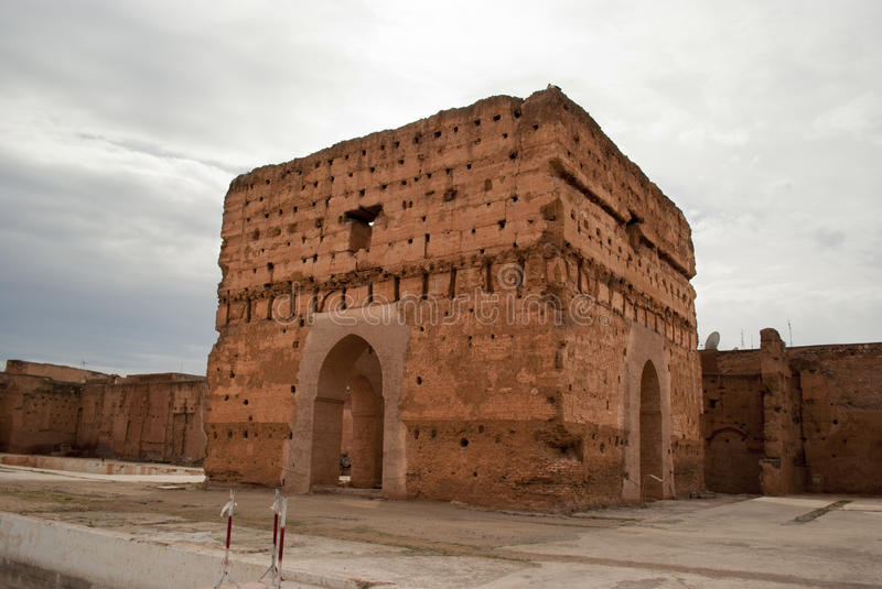 Gr Badi Palace in Marrakech stock afbeelding