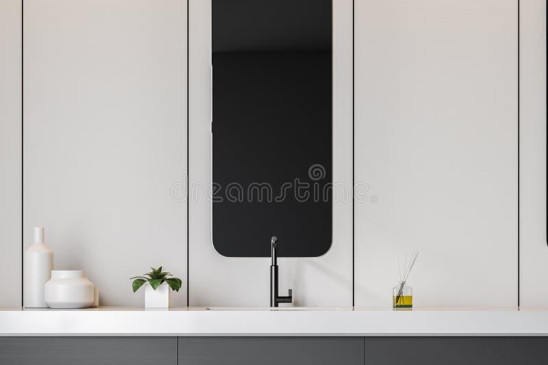 Gr? badrumvask med spegeln vektor illustrationer