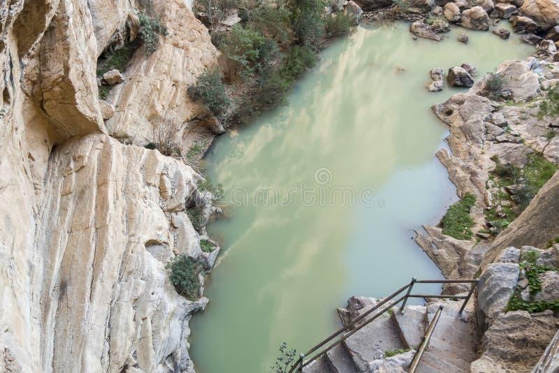 'Gr Caminito del Rey' (Weinig Weg van de Koning), het Meeste Gevaar van de Wereld stock foto