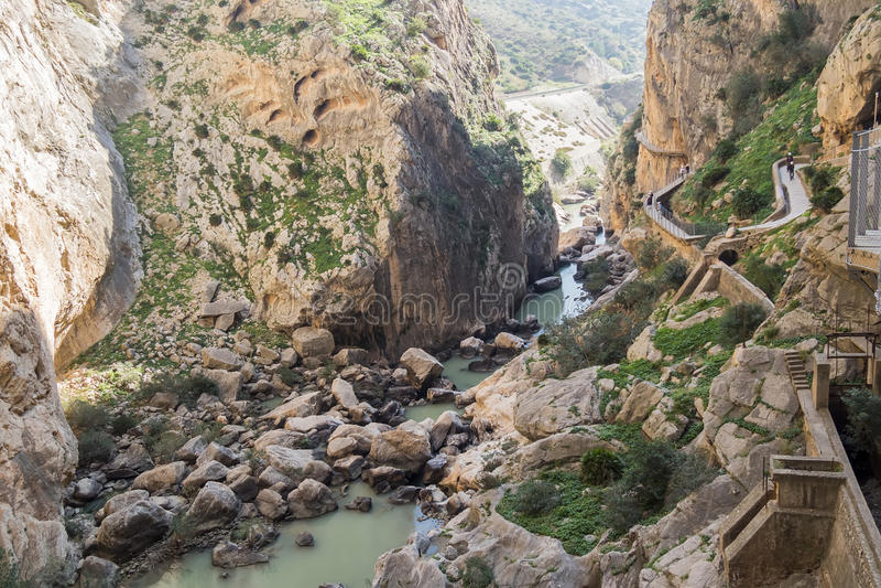 'Gr Caminito del Rey' (Weinig Weg van de Koning), het Meeste Gevaar van de Wereld stock afbeelding