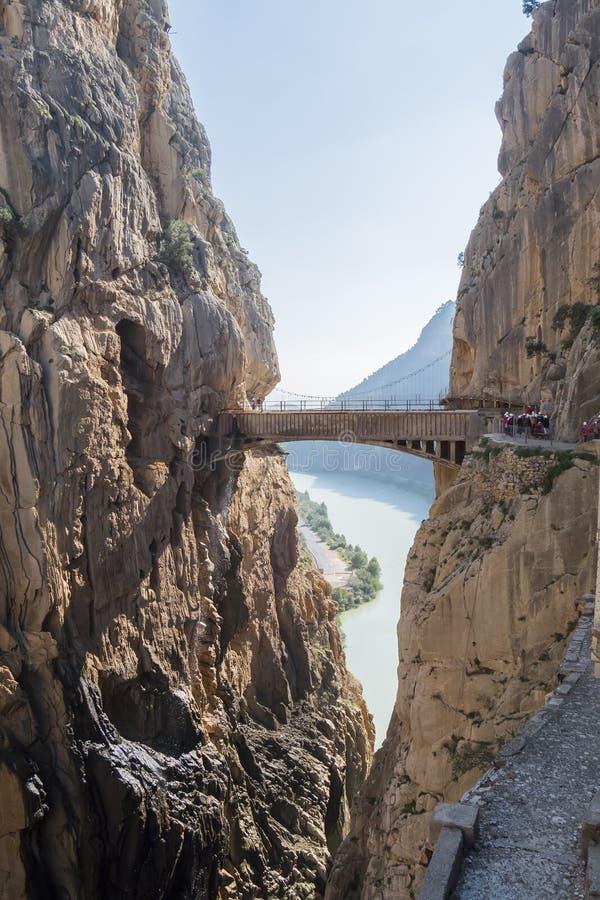 'Gr Caminito del Rey' (Weinig Weg van de Koning), het Meeste Gevaar van de Wereld stock fotografie