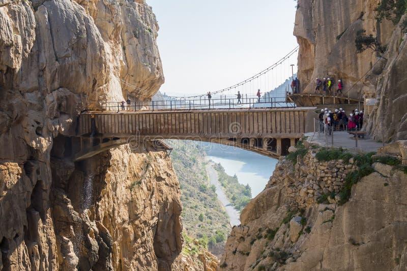'Gr Caminito del Rey' (Weinig Weg van de Koning), het Meeste Gevaar van de Wereld stock afbeeldingen