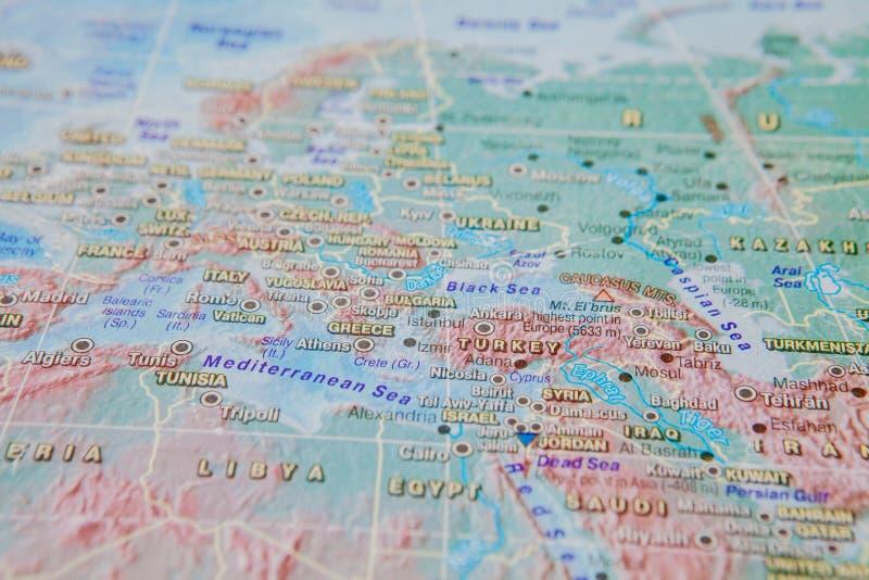 Gr?cia e Turquia no fim acima no mapa Foco no nome do pa?s Efeito do Vignetting fotos de stock royalty free
