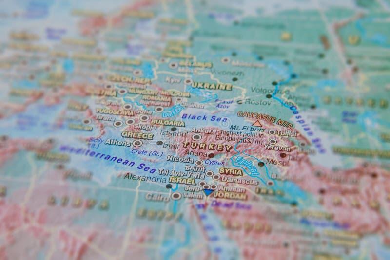 Gr?cia e Turquia no fim acima no mapa Foco no nome do pa?s Efeito do Vignetting imagem de stock