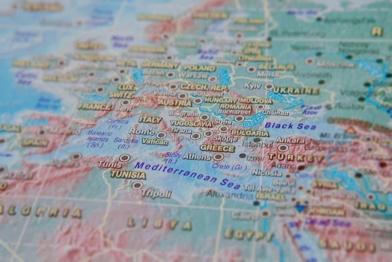 Gr?cia e Turquia no fim acima no mapa Foco no nome do pa?s Efeito do Vignetting foto de stock royalty free