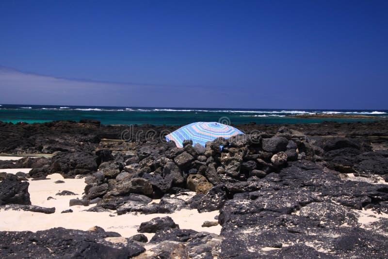 Gr Cotillo - Faro del Toston: Geïsoleerde blauwe paraplu tussen zwarte vulkanische rotsen op strand met het oceaanhorizonnoorden  stock foto