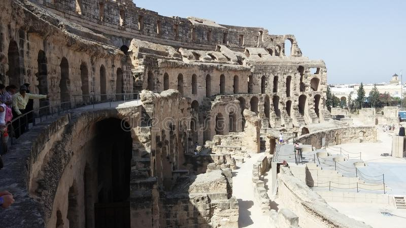 Gr Djem, Roman Amhitheatre, ruïnes stock afbeelding