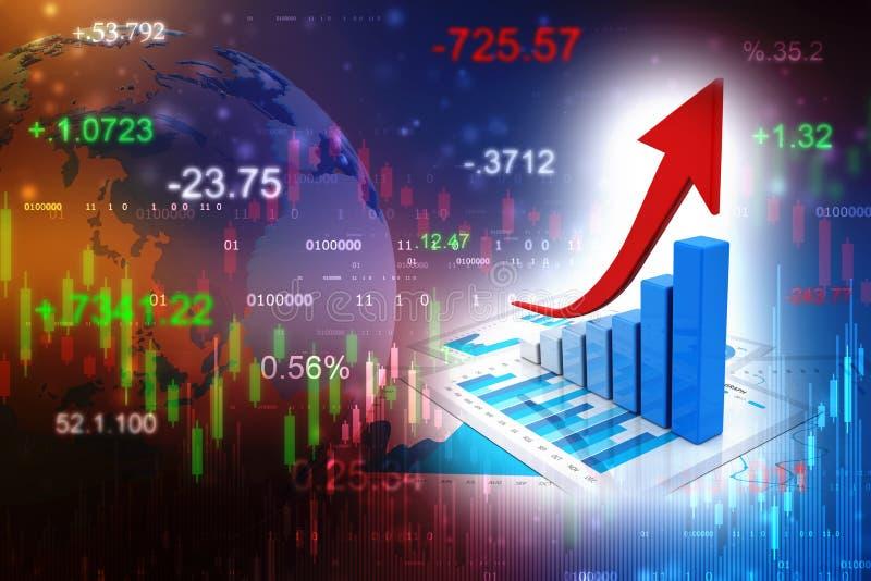 gr?fico e originais de neg?cio da rendi??o 3d Carta do mercado de valores de a??o ilustração stock