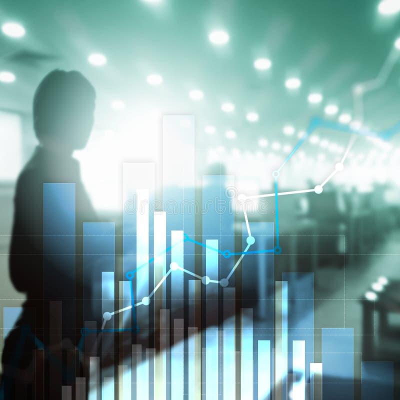 Gr?fico financeiro do crescimento Aumento das vendas, conceito da estrat?gia de marketing ilustração do vetor