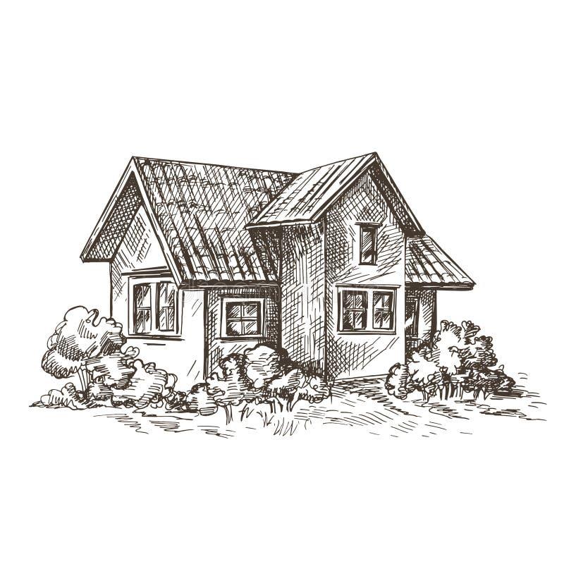 gr?ficos del bosquejo Ilustraci?n de la vendimia Arquitectura rural retro stock de ilustración