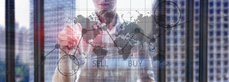 Gr?ficos financieros de la carta de la inversi?n de comercio de las divisas Concepto del negocio y de la tecnolog?a imagen de archivo