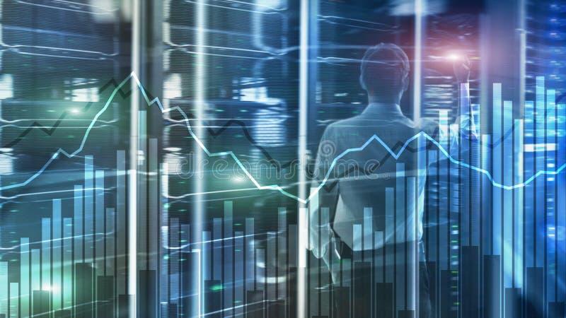 Gr?ficos financieros y diagramas de la exposici?n doble Concepto del negocio, de la econom?a y de la inversi?n foto de archivo