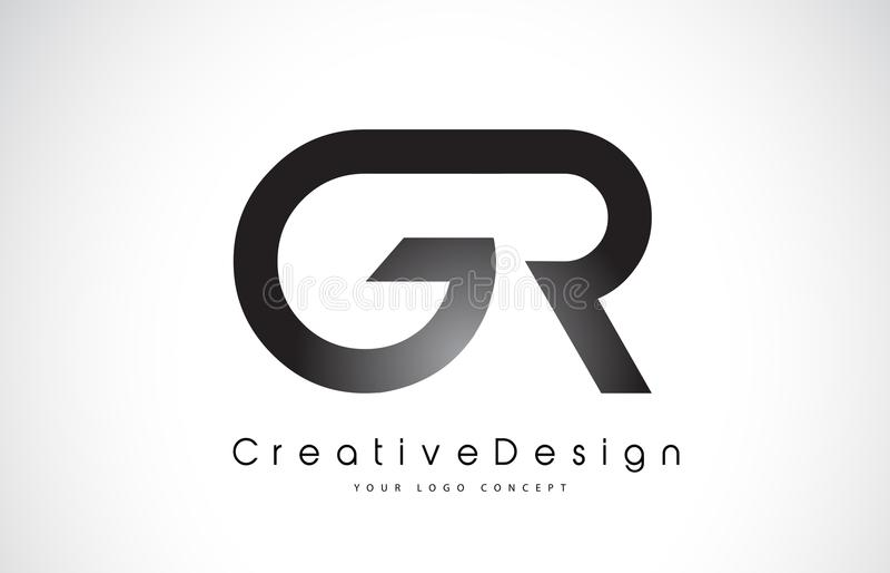 GR G R Letter Logo Design. Creative Icon Modern Letters Vector L royalty free illustration