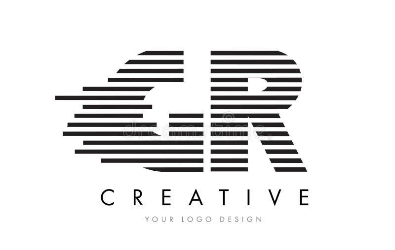 GR G R Zebra Letter Logo Design with Black and White Stripes vector illustration