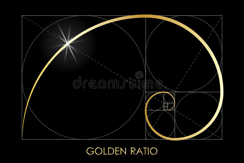 Golden ratio. Harmonic division. Golden ratio. Fibonacci number. Circles in golden proportion. Geometric shapes. Logo. Abstract background. Vector illustration vector illustration