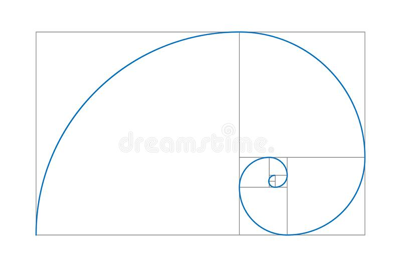 Golden section drawing. Golden ratio. Fibonacci number. Geometric shapes. Logo. Vector icon. Abstract vector background royalty free illustration