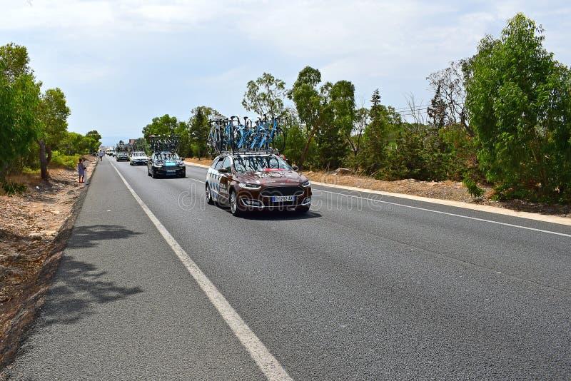 A2GR-La Mondiale Team Car La Vuelta España lizenzfreie stockbilder
