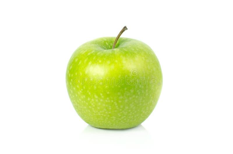 Gr?n Apple isolat p? vit bakgrund arkivbild