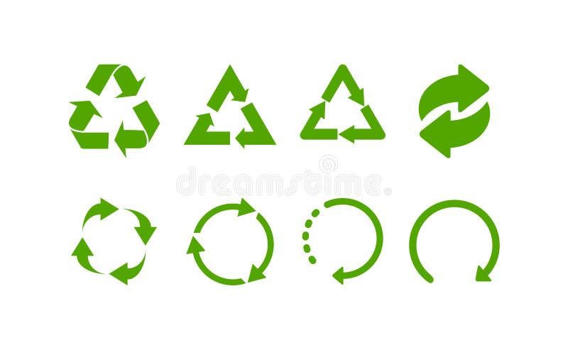 Gr?n bereiten Zeichen auf Bereiten Sie Ikonen auf Stellen Sie von den grünen Recycling-Symbolen ein stock abbildung