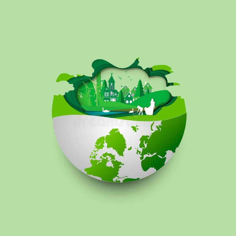 Gr?n jord av den v?nliga staden f?r ecoen och det stads- skoglandskapet g?r sammandrag bakgrund Förnybara energikällor för ekolog stock illustrationer