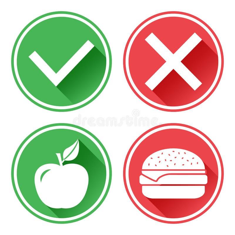 gr?n red f?r knappar Apple och ostburgare Valet mellan sjuklig mat och sund mat h?ger wrong vektor royaltyfri illustrationer