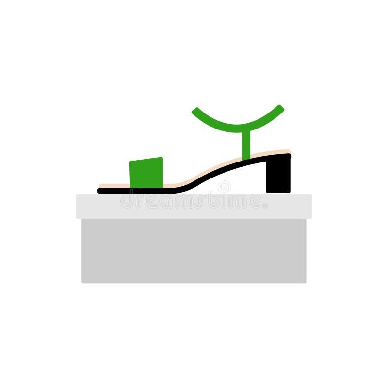 Gr?n sandal med sidosikten, profil Kvinnasko vektor illustrationer