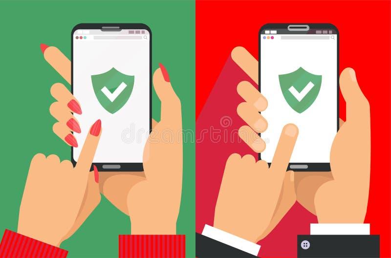 Gr?n sk?ld p? smartphonesk?rmen Mannen och kvinnliga händer rymmer smartphone- och fingerhandlagskärmen symbolsbegrepp av rengöri royaltyfri illustrationer