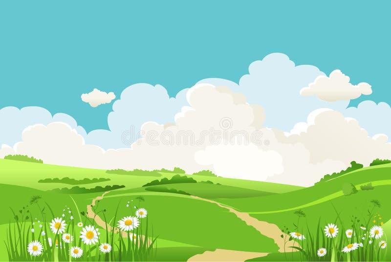 gr?n sky f?r bl?gr?s stock illustrationer