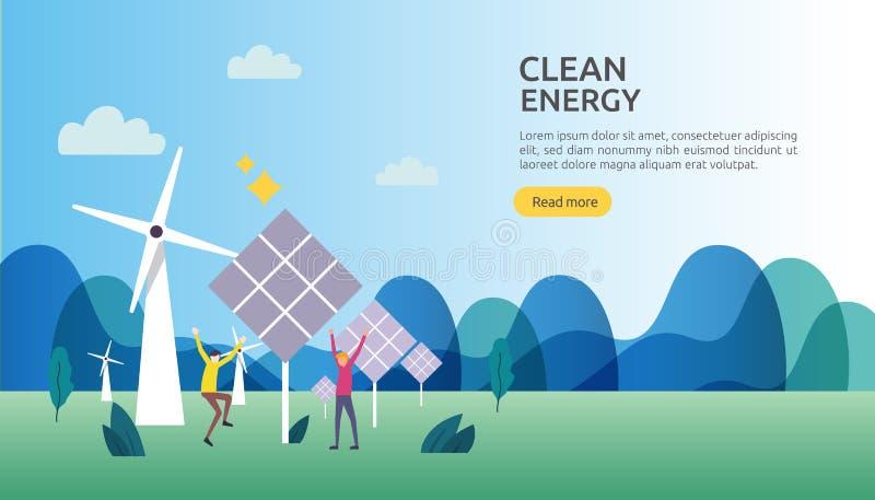 gr?na k?llor f?r ren energi f?rnybara elektriska solsolpanel- och vindturbiner milj?- begrepp med folkteckenet Reng?ringsduk royaltyfri illustrationer