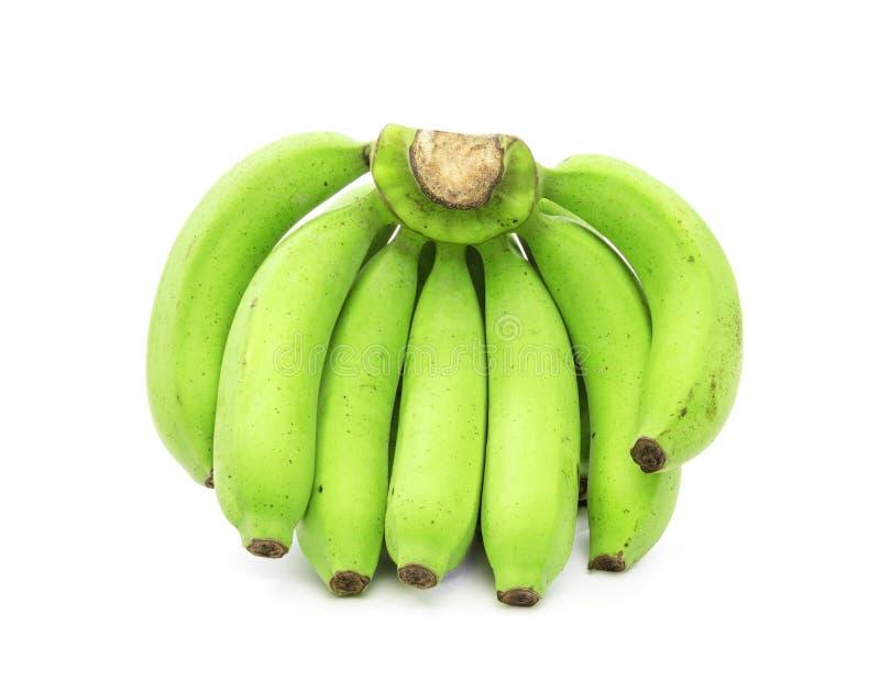 Gr?ne Bananen getrennt auf wei?em Hintergrund stockfoto