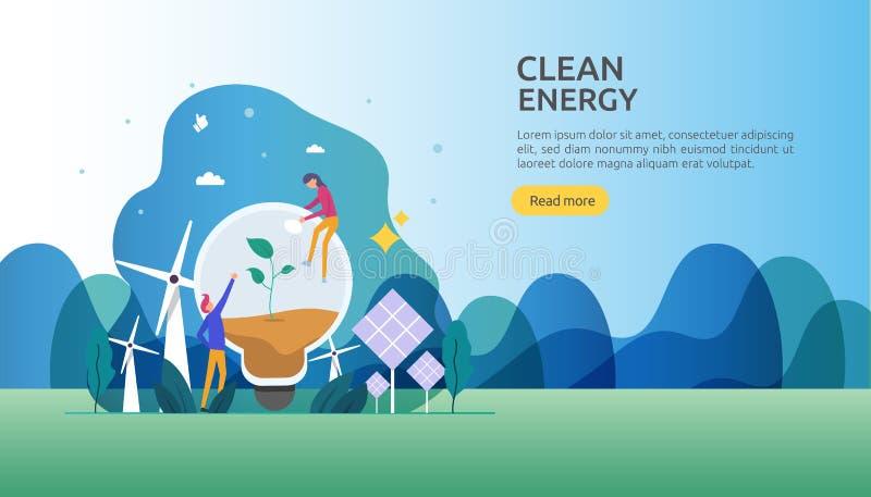 gr?ne saubere Energiequellen auswechselbarer elektrischer Sonnensonnenkollektor und -Windkraftanlagen Klimakonzept mit Leutechara stock abbildung