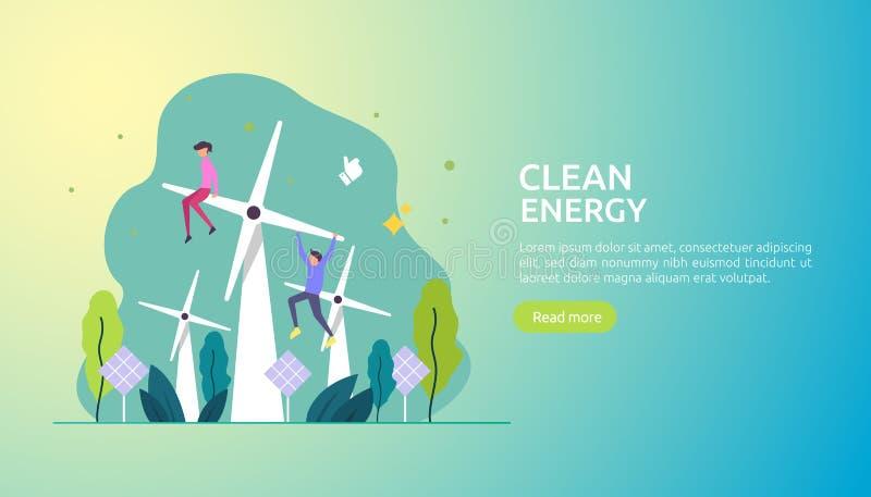 gr?ne saubere Energiequellen auswechselbarer elektrischer Sonnensonnenkollektor und -Windkraftanlagen Klimakonzept mit Leutechara vektor abbildung