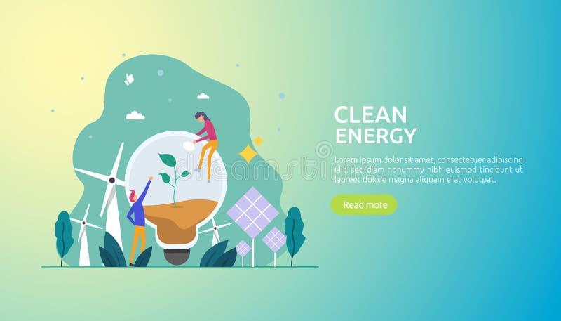 gr?ne saubere Energiequellen auswechselbarer elektrischer Sonnensonnenkollektor und -Windkraftanlagen Klimakonzept mit Leutechara lizenzfreie abbildung
