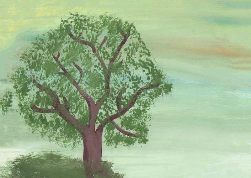 Gr?ner Baum auf gr?nem Hintergrund lizenzfreie abbildung