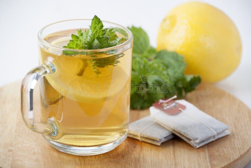 Gr?ner Tee mit Minze und Zitrone in einem Glasbecher stockbilder