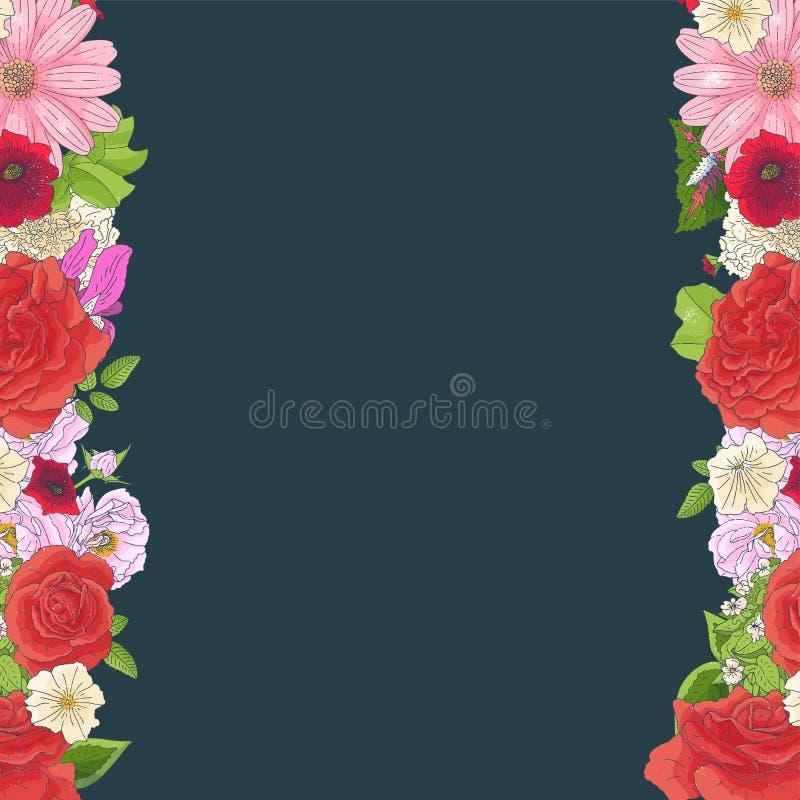 Gr?ns med olika blommor i klotterstil Utdragna best?ndsdelar f?r hand f?r att gifta sig den blom- designen, h?lsningkort, vektori royaltyfri illustrationer