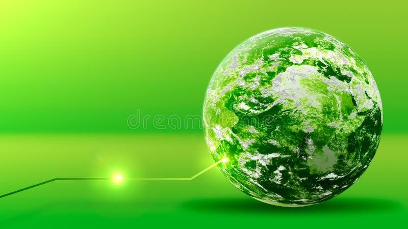 Gr?nt energibegrepp, planet f?r gr?n jord med linjen Best?ndsdelar som m?bleras av NASA arkivbilder