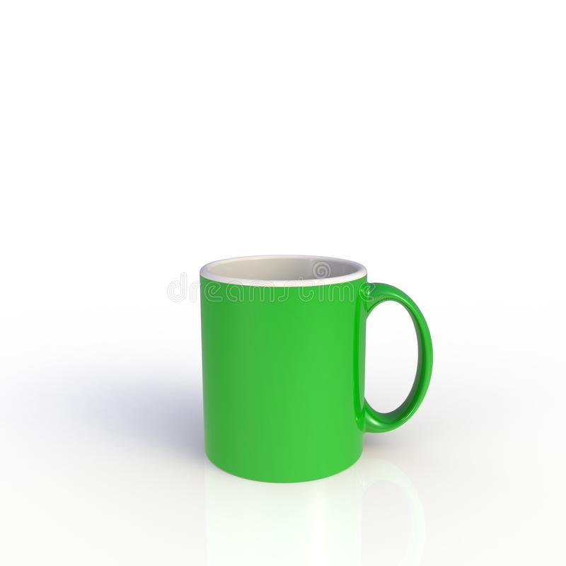Gr?nt kaffe kuper isolerat p? vitbakgrund royaltyfri illustrationer
