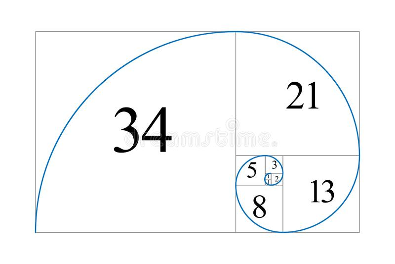 Golden ratio. Fibonacci number stock illustration