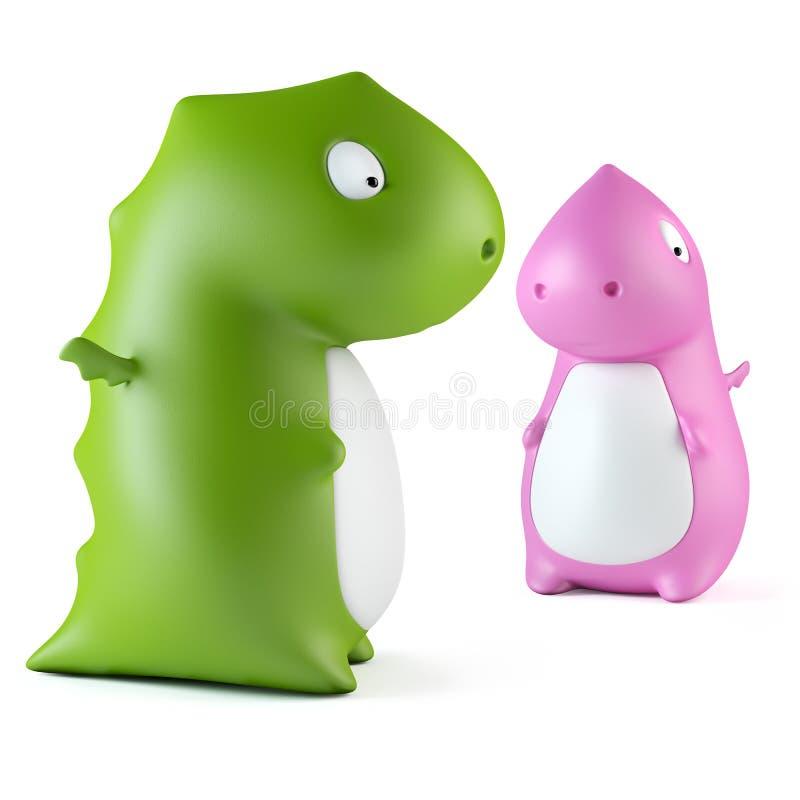 gröna rosa toys för drake stock illustrationer