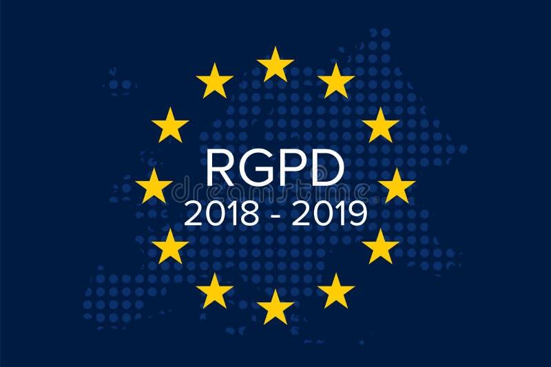 Gr Reglamento Algemeen DE Proteccià ³ n DE Datos RGPD, 2018-2019, 1 later jaar stock illustratie