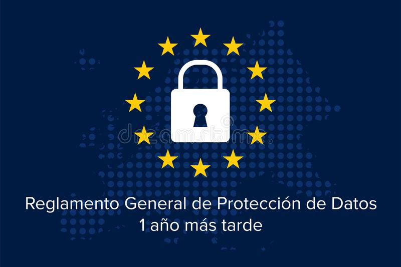 Gr Reglamento General DE Proteccion DE Datos RGPD, 2018-2019, 1 later jaar stock illustratie