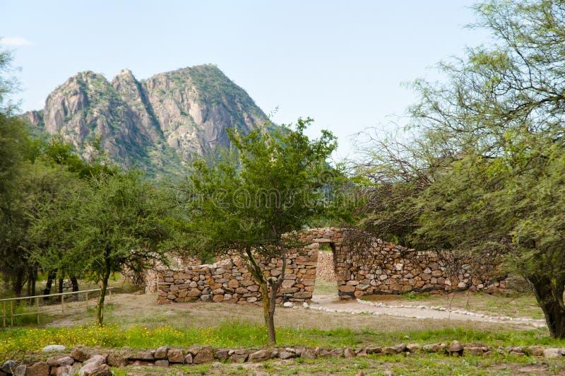 Gr Shincal Inca Ruins - Catamarca - Argentinië stock afbeelding