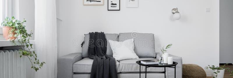 Gr? soffa- och kaffetabell arkivfoton