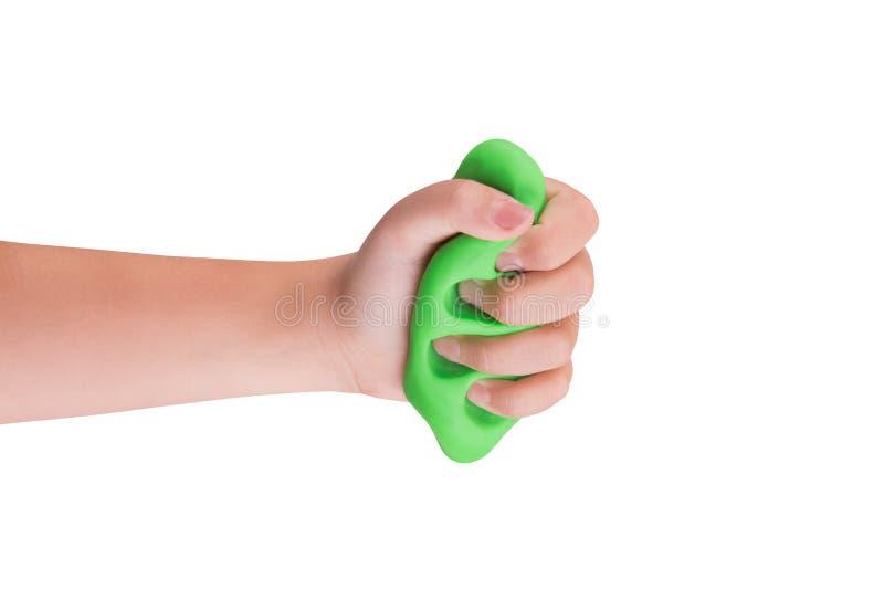 Gra śluz w child& x27; s ręki zdjęcie royalty free