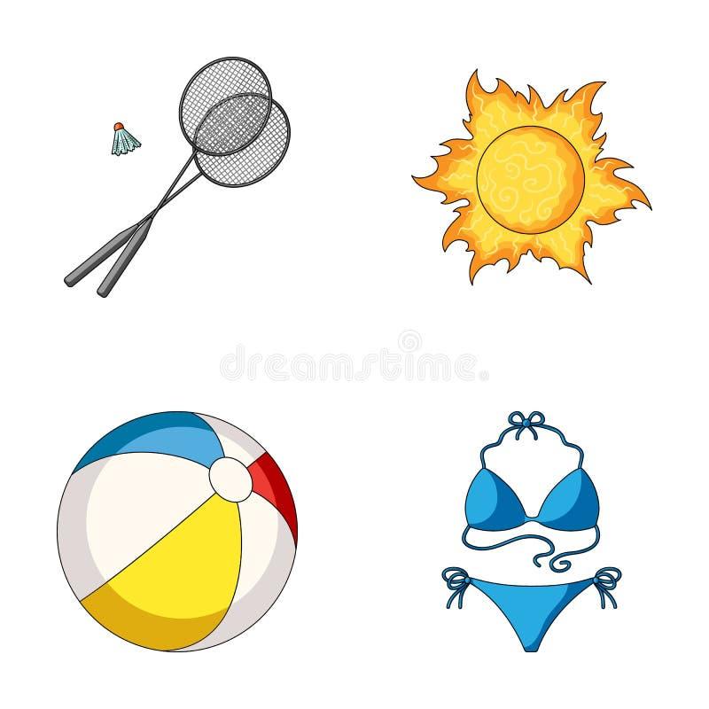 Gra badminton, piłka i słońce, Wakacje ustalone inkasowe ikony w kreskówka stylu symbolu wektorowym zapasie ilustracja wektor