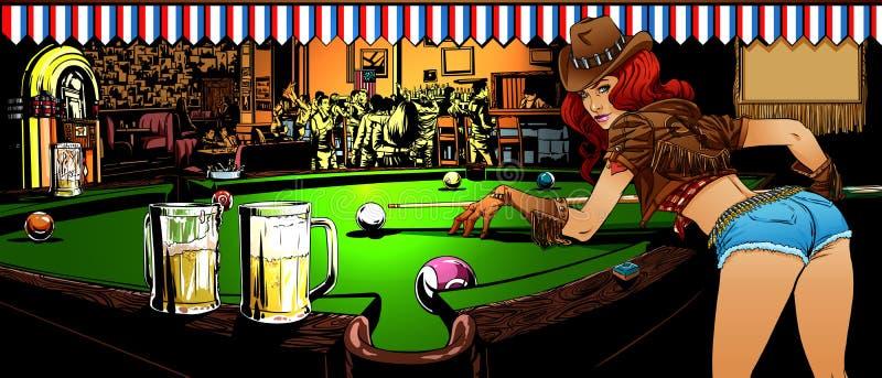 Gra billiards w barze royalty ilustracja