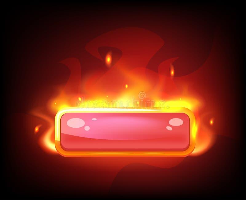 Gra długi ognisty czerwony guzik royalty ilustracja