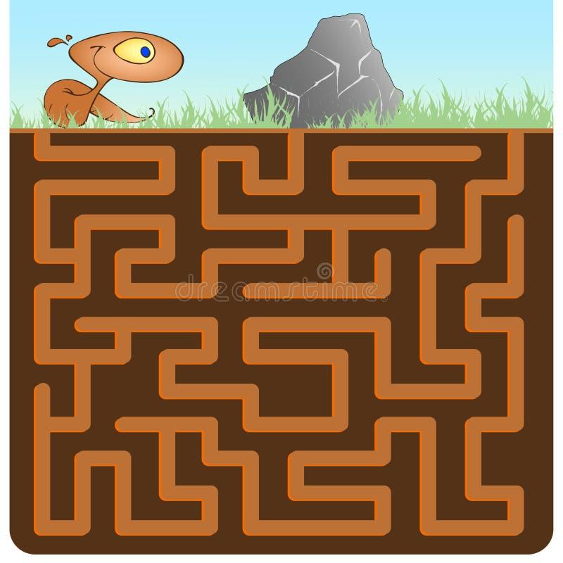 Gra dla dzieci z Earthworm i kamieniem zdjęcia royalty free